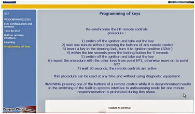 End of key programming procedure notice displays