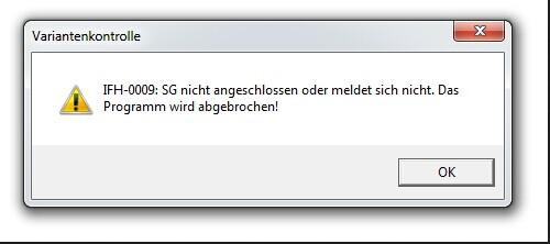 BMW INPA interface IFH-0009 error