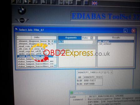 BMW reset short circuit counter with EDIABAS Tool32