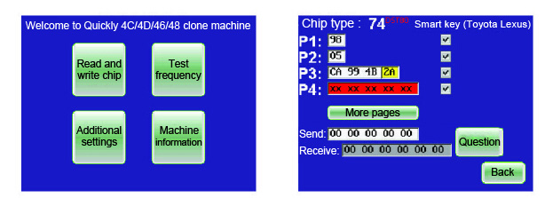 identify chip 01 - Quickly 4C 4D 46 48 clone machine only $230 -
