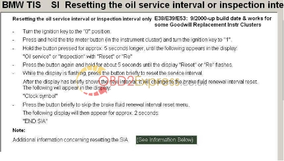 """Reset Service Interval from Instr Cluster 04 - """"Inspection"""" appears on 2002 BMW 540i, what to do? -"""