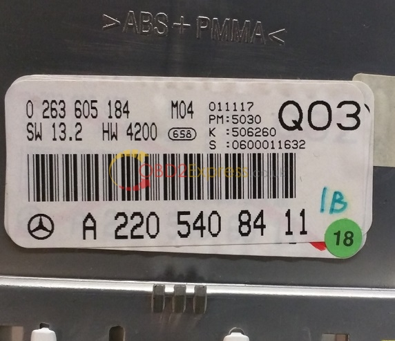 w220 dash label 2 - (Fixed) 2001 Mercedes W220 S500 dash, where is the eeprom