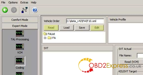 How to use E-sys ENET cable to change BMW F series FA (VO