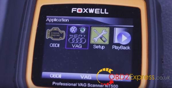 NT500 scanner menu 04 600x308 - Using Foxwell NT500 scanner diagnose 2008 VW Touareg V6 TDI