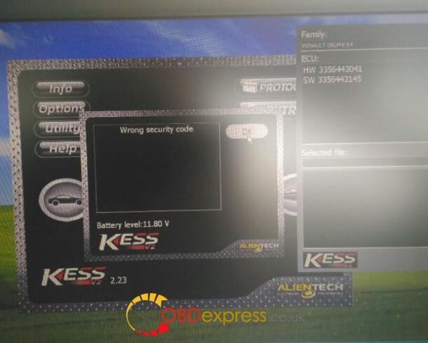 kess v2 Wrong Security Code