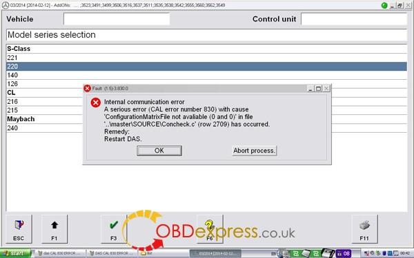 DAS CAL 830 ERROR 1 600x375 - How to solve SDconnect DAS CAL error number 830 - How to solve SDconnect DAS CAL error number 830