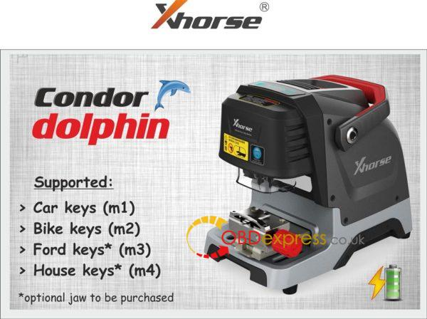 Coming soon!Xhorse Condor Dolphin key cutting machine is new device from XHORSE brand ,and it's used on APP via bluetooth ,support both IOS and Android.Condor XC-Dolphin key machine is an entry-level product of the CONDOR CNC machine family. The body design is simple, it is very suitable for mobile use in the mobile scene, without operating screen, you need to connect a mobile phone or tablet, and install a dedicated APN.