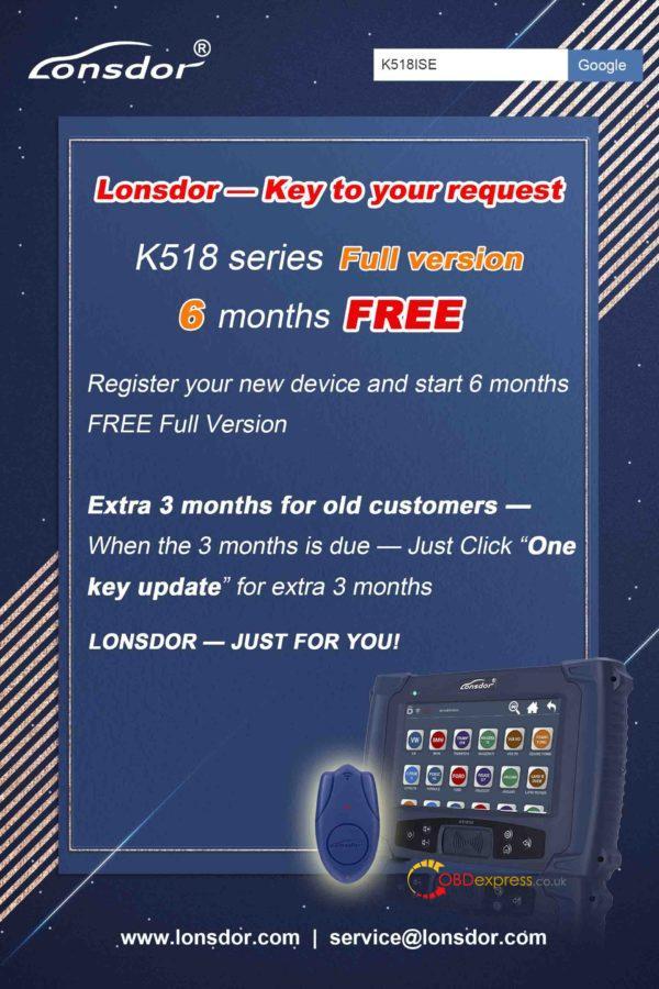 Lonsdor K518 - Lonsdor K518 Subscribed Menus Can Be Used For 180 Days