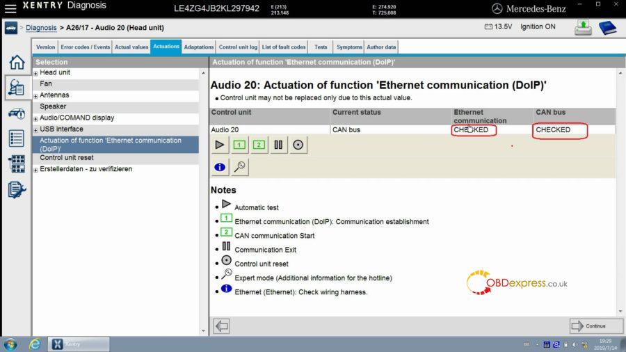 """xentry test actuation of function ethernet communication doip 18 900x506 - Mercedes Benz Xentry test Actuation of function """"Ethernet communication (DOIP)"""