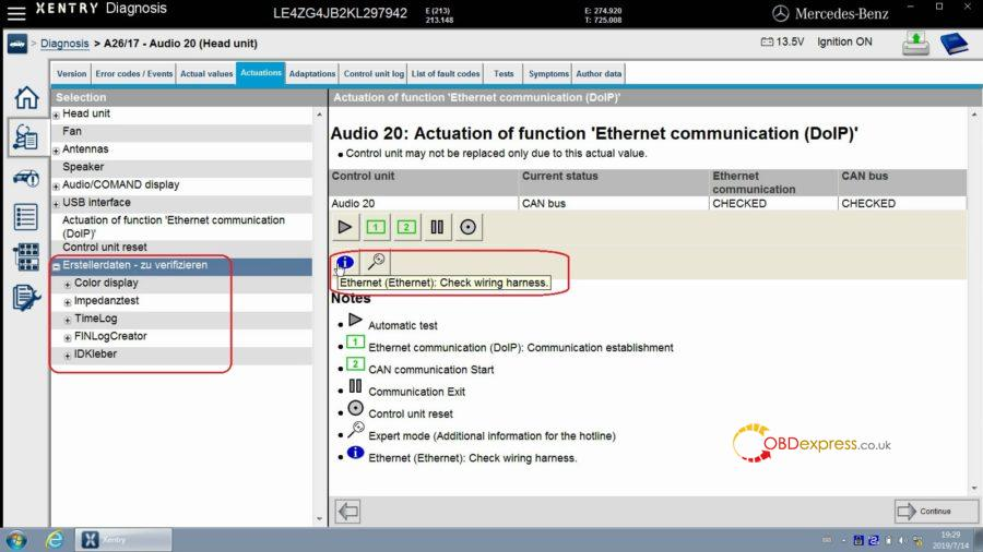 """xentry test actuation of function ethernet communication doip 19 900x506 - Mercedes Benz Xentry test Actuation of function """"Ethernet communication (DOIP)"""