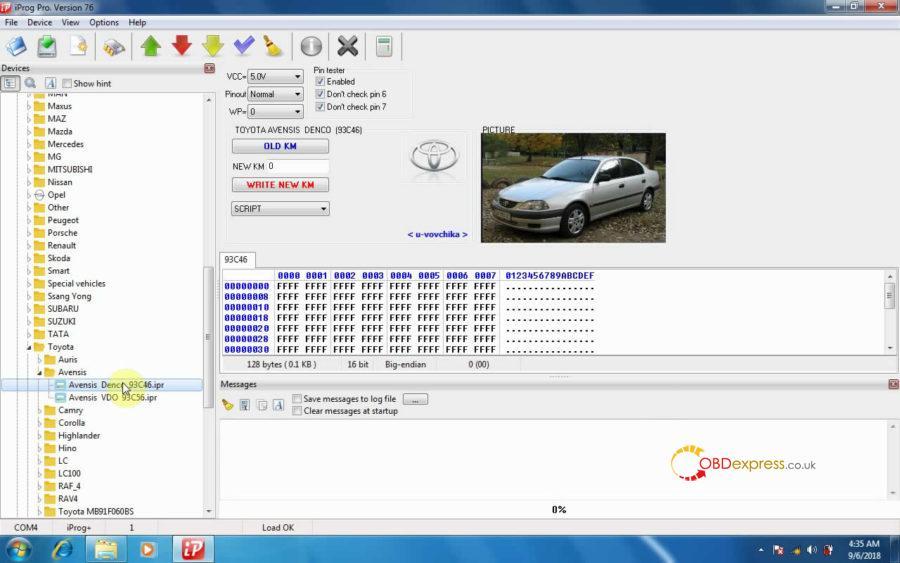 iprog v76 read write km on toyota avensis 13 900x563 - How does iProg+ V76 read & write KM on Toyota Avensis Denco 93c46?