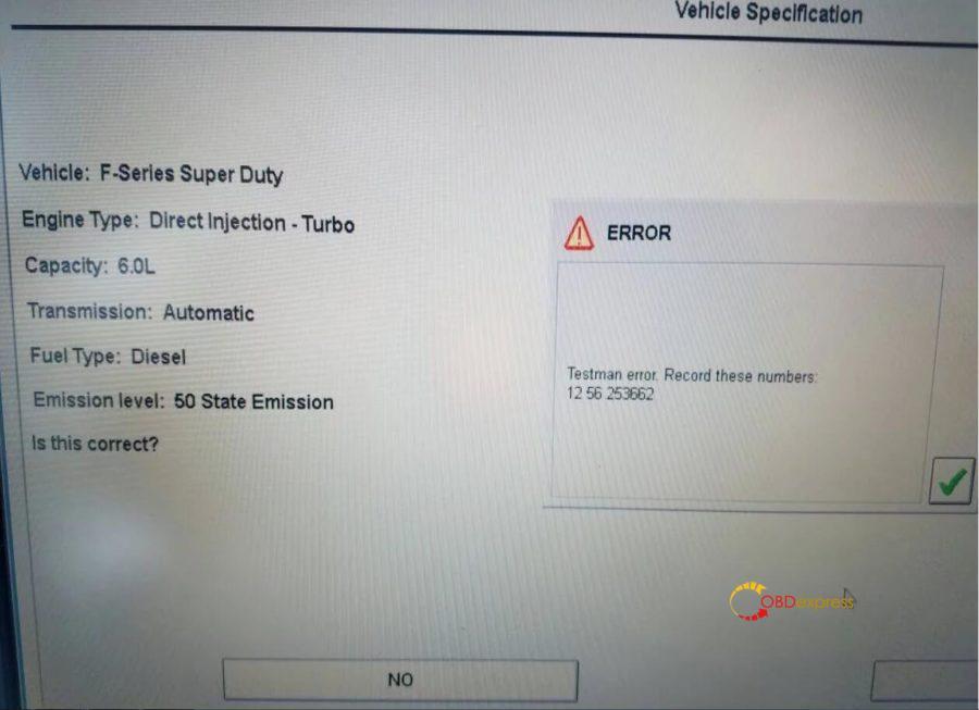 IDS Testman Error Solution