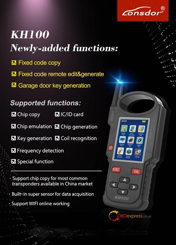 Lonsdor KH100 - Lonsdor KH100 remote & smart key generation List