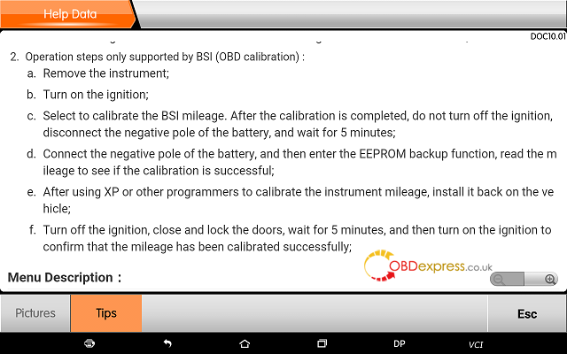 obdstar dp plus peugeot mileage programming 19 - OBDSTAR Peugeot Citroen Odometer Correction using guide + Car List - Obdstar Dp Plus Peugeot Mileage Programming 19