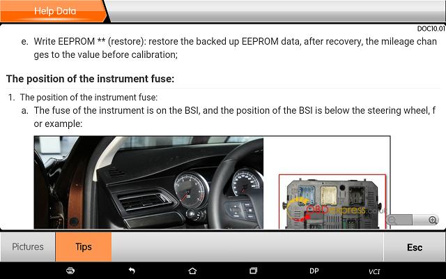 obdstar dp plus peugeot mileage programming 21 - OBDSTAR Peugeot Citroen Odometer Correction using guide + Car List - Obdstar Dp Plus Peugeot Mileage Programming 21
