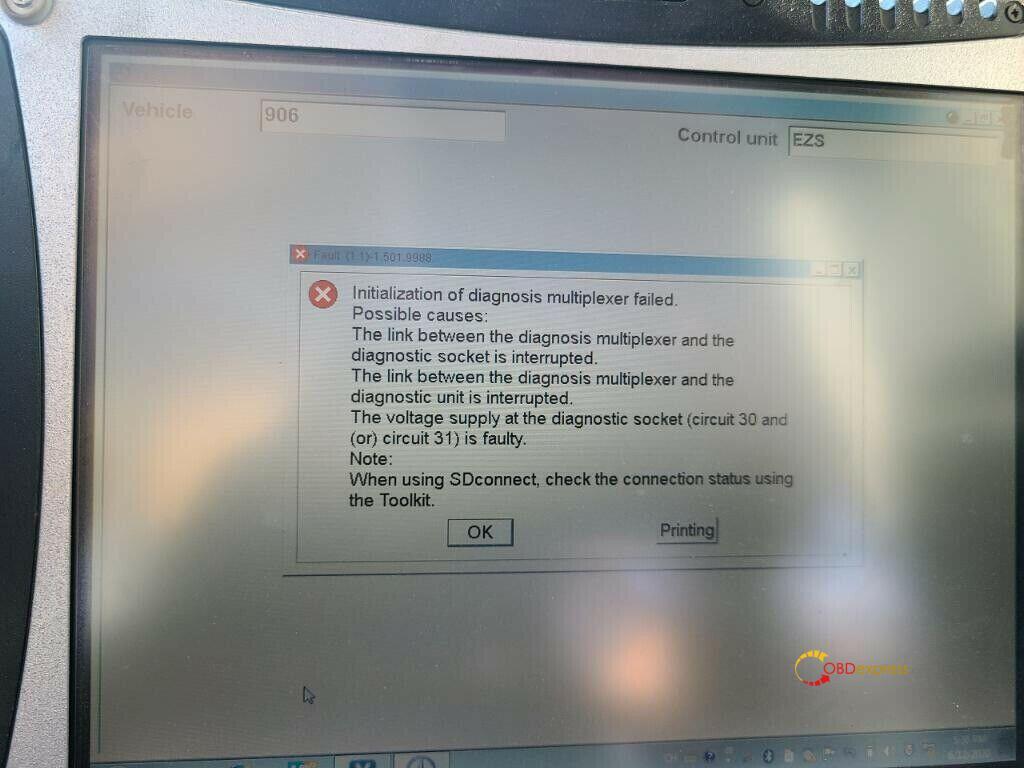 Vxdiag Benz C6 Initialization Of Diagnosis Multiplexer Failed 01