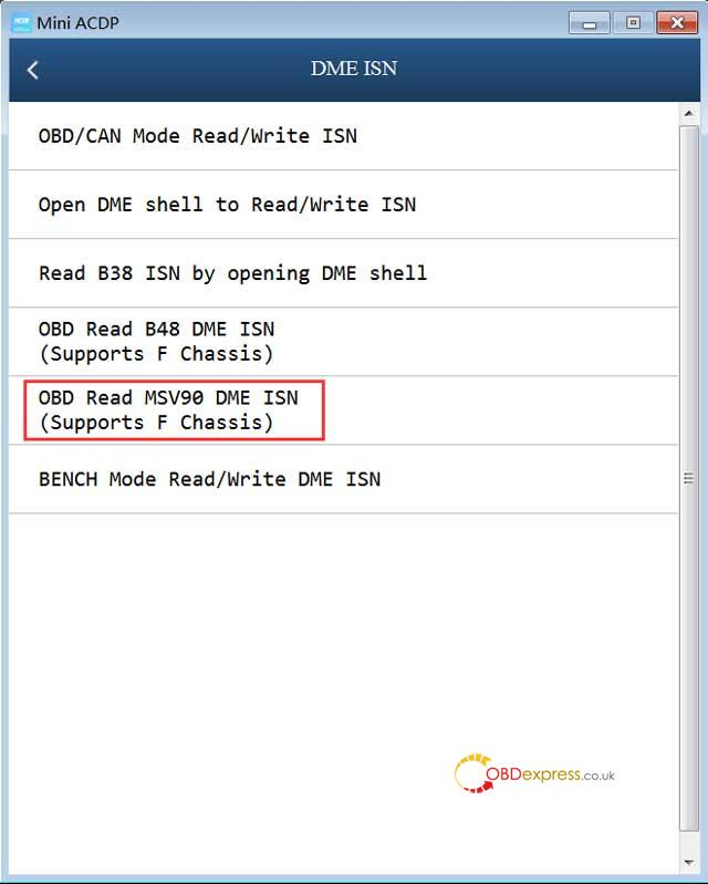 Yanhua Acdp Obd Read Msv90 Dme Isn 05