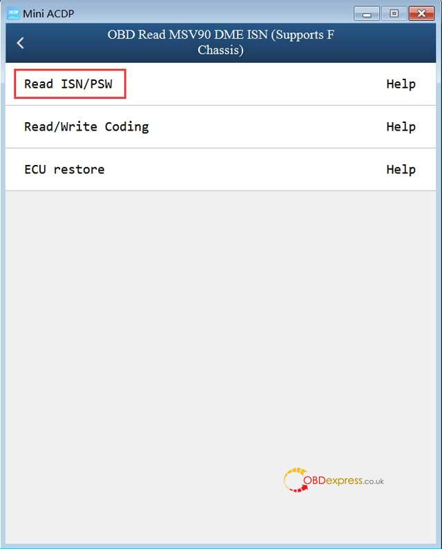 Yanhua Acdp Obd Read Msv90 Dme Isn 06