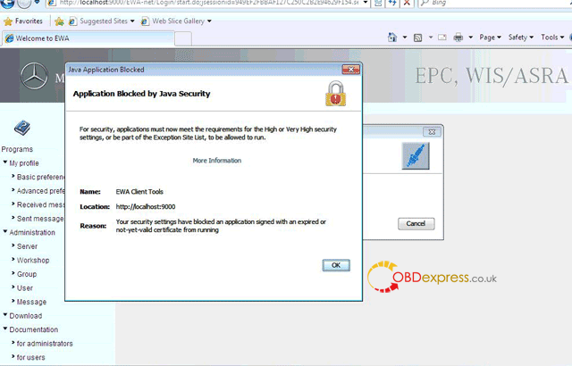 """mb star epcnet java security solution 01 - Fixed! MB Star EPC.net error """"application blocked by Java Security"""" - Mb Star Epcnet Java Security Solution 01"""