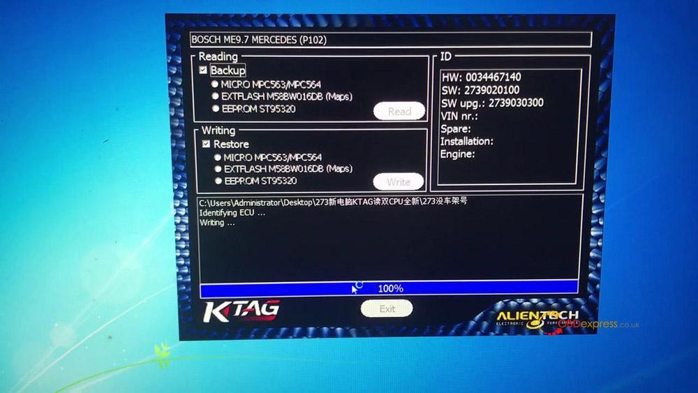 ktag read write mercedes benz me9 7 ecu data 09 - How to read write Mercedes Benz ME9.7 ECU data with Ktag Clone?