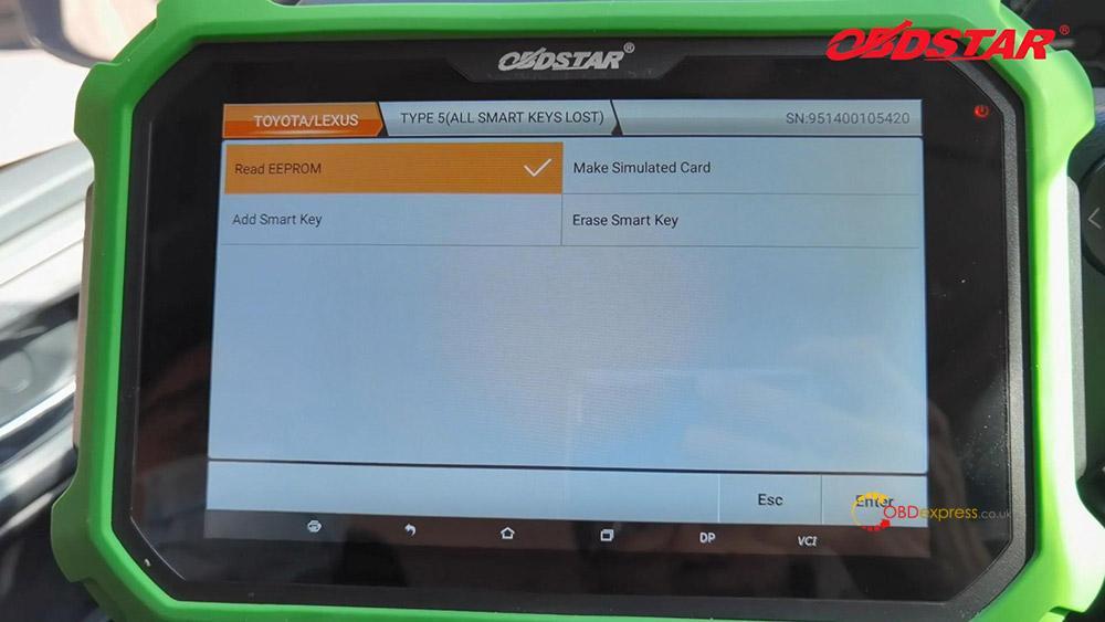 obdstar key sim program toyota a8 smart key akl 03 - Program Toyota Lexus Smart Key AKL by OBDSTAR Key SIM & X300 - OBDSTAR Key SIM Program Toyota A8 Lexus 98 Smart Key AKL