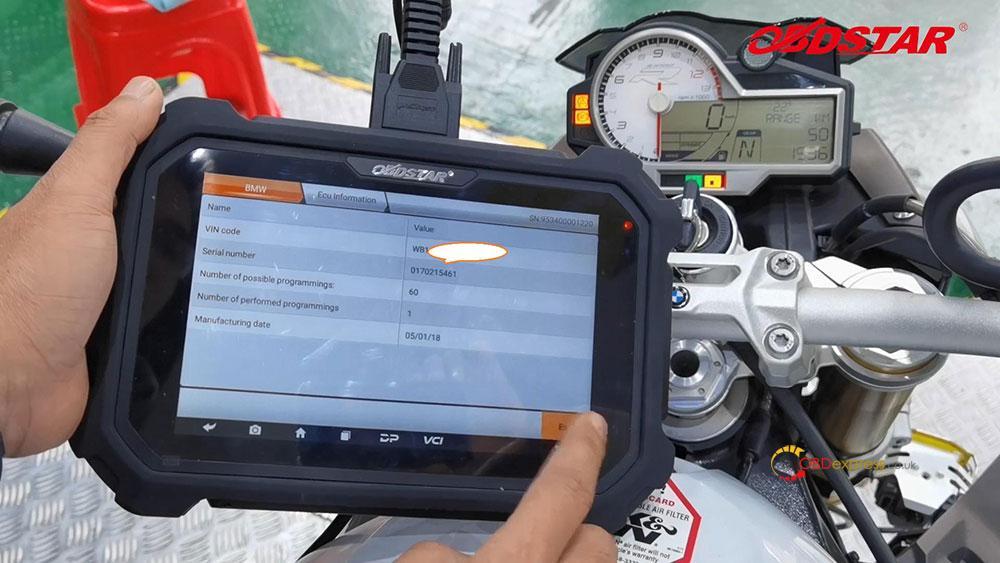 obdstar ms80 diagnose 2018 bmw s1000r motorbike 09 - How does OBDSTAR MS80 diagnose 2018 BMW S1000R Motorbike?