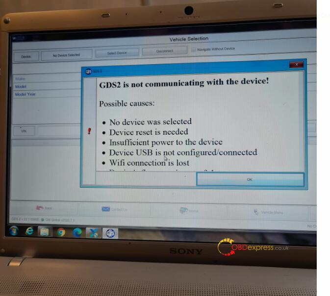"""GDS2 is not communicating with the device 2 - How to solve vxdiag gm gds prompt """"No device detected"""" - GDS2 is not communicating with the device"""