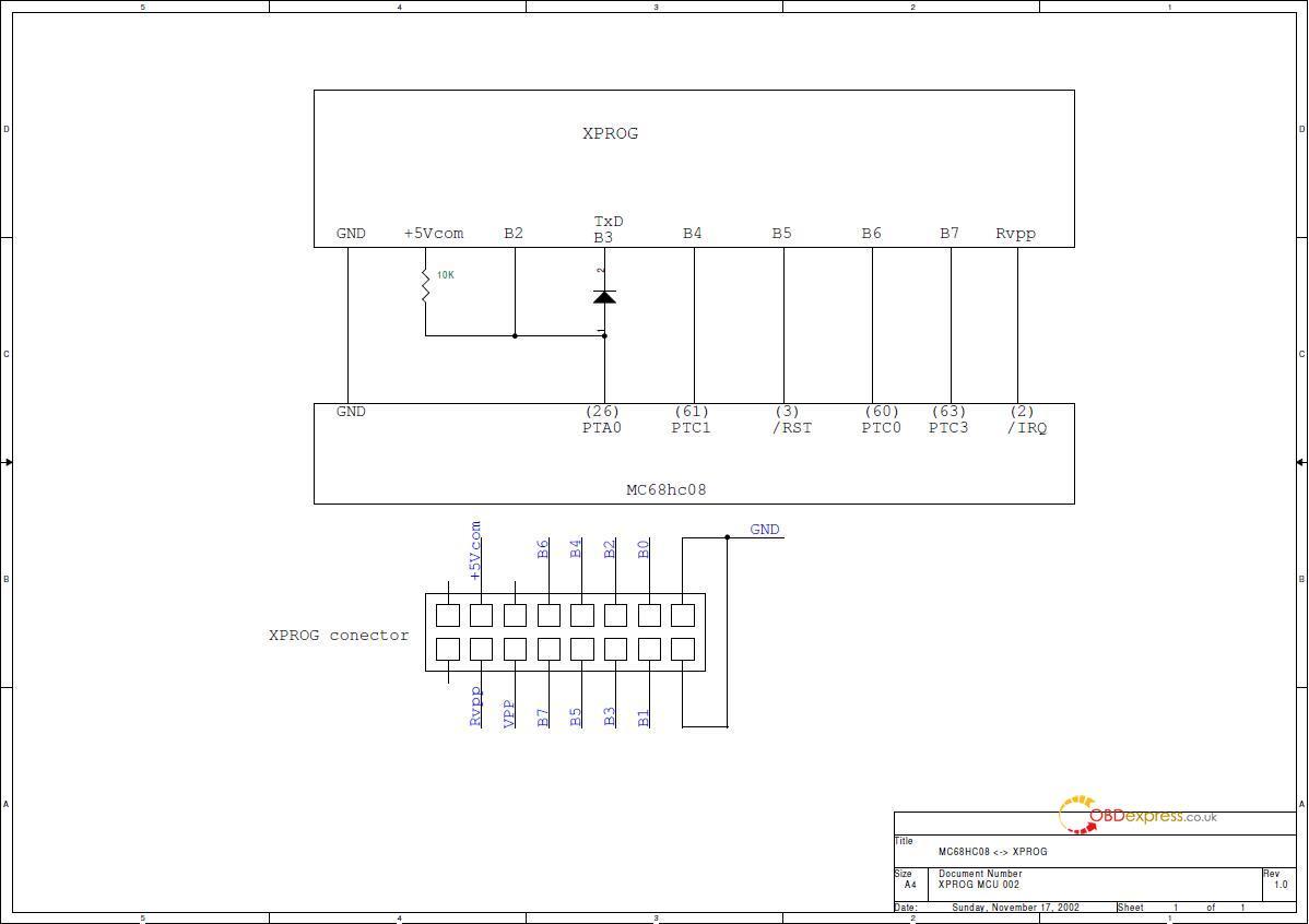 xprog 6 12 hc08 mc68h ol72a 02 - Xprog 6.12 HC08 Mc68H (OL72A) Wiring Diagram - Xprog 6.12 HC08 Mc68H (OL72A) Wiring Diagram