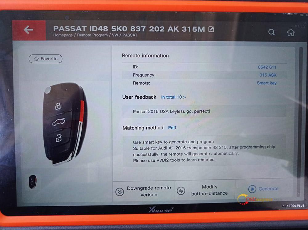 vvdi key tool plus passat b7 usa 04 - Passat b7 2015y ID48 keylessgo VVDI key tool plus add key OK -