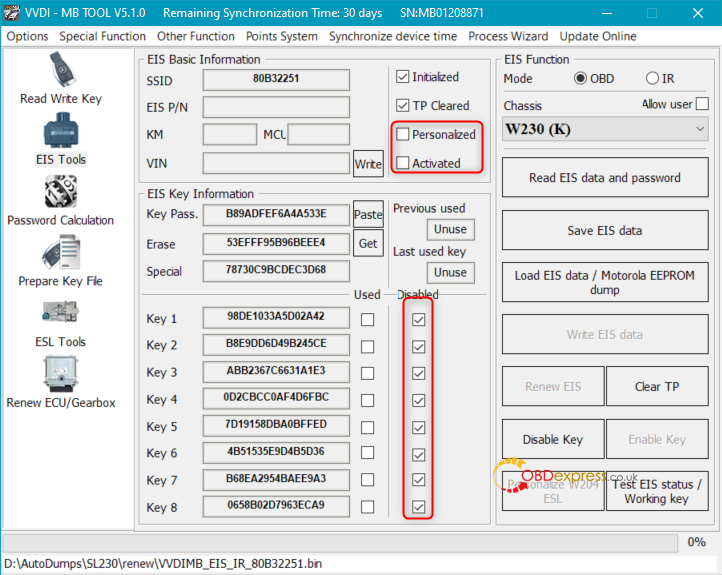 after renew vvdi mb 01 - How to renew W230 EIS with VVDI MB Tool? -