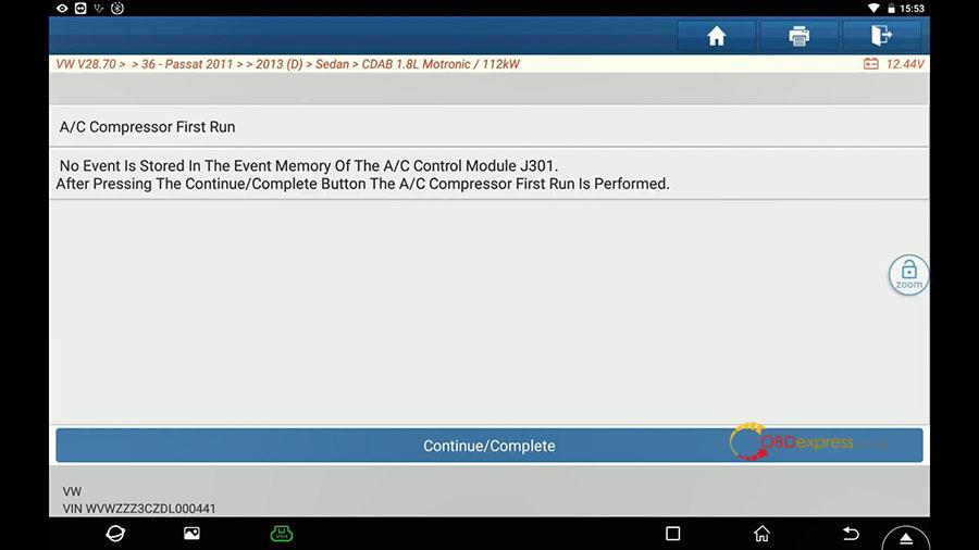 launch x431 vw passat 2013 guided function 09 - Launch X431 Guided Function: VW Passat 2013 Air Cond Compressor first run - Launch X431 Guided Function: VW Passat 2013 Air Cond