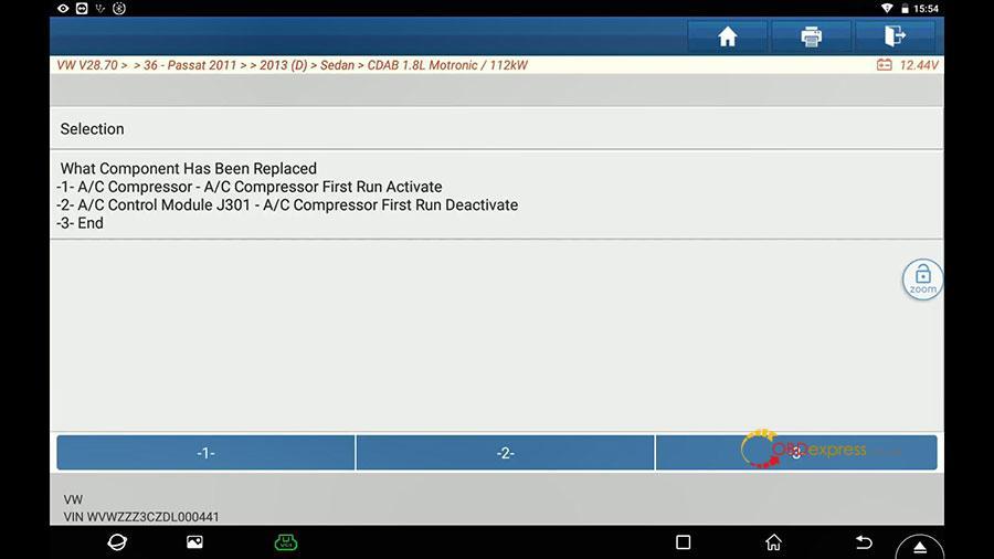 launch x431 vw passat 2013 guided function 10 - Launch X431 Guided Function: VW Passat 2013 Air Cond Compressor first run - Launch X431 Guided Function: VW Passat 2013 Air Cond