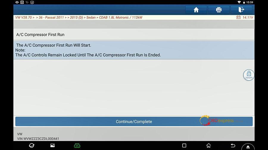launch x431 vw passat 2013 guided function 14 - Launch X431 Guided Function: VW Passat 2013 Air Cond Compressor first run - Launch X431 Guided Function: VW Passat 2013 Air Cond