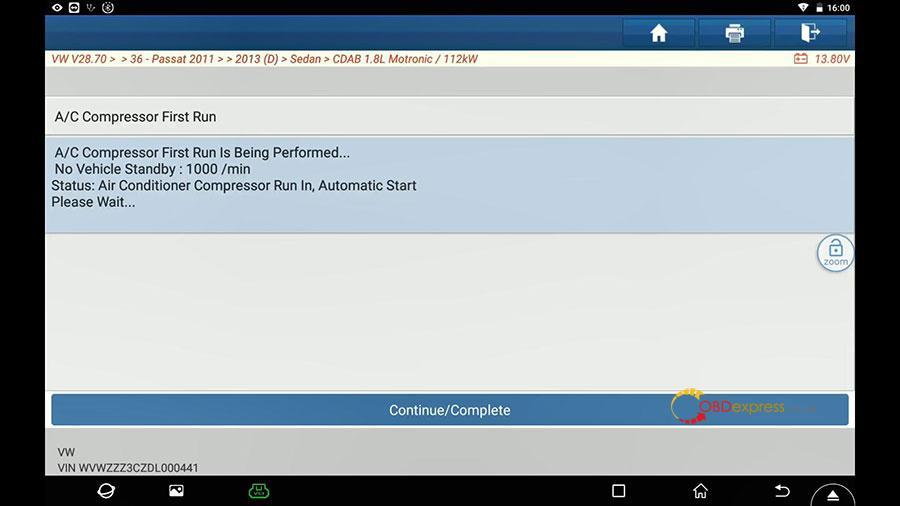 launch x431 vw passat 2013 guided function 15 - Launch X431 Guided Function: VW Passat 2013 Air Cond Compressor first run - Launch X431 Guided Function: VW Passat 2013 Air Cond