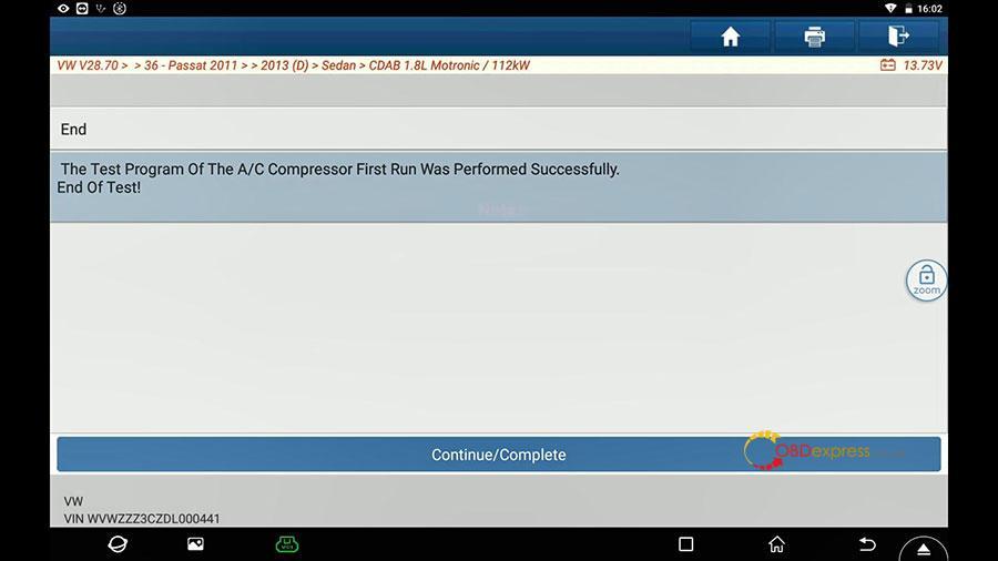 launch x431 vw passat 2013 guided function 18 - Launch X431 Guided Function: VW Passat 2013 Air Cond Compressor first run - Launch X431 Guided Function: VW Passat 2013 Air Cond