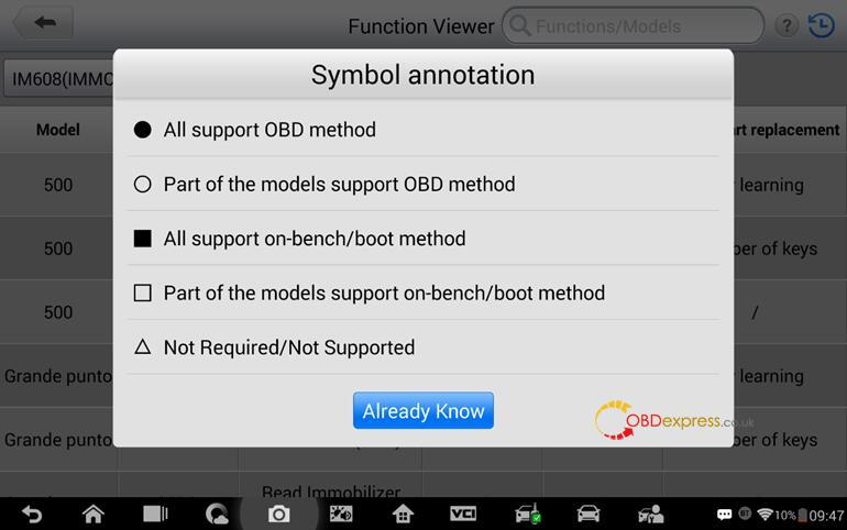 Check immo function supported or not with your vehicle 05 - How to determine if IM608 can use IMMO function in your car - determine if Autel IM608 supports your car